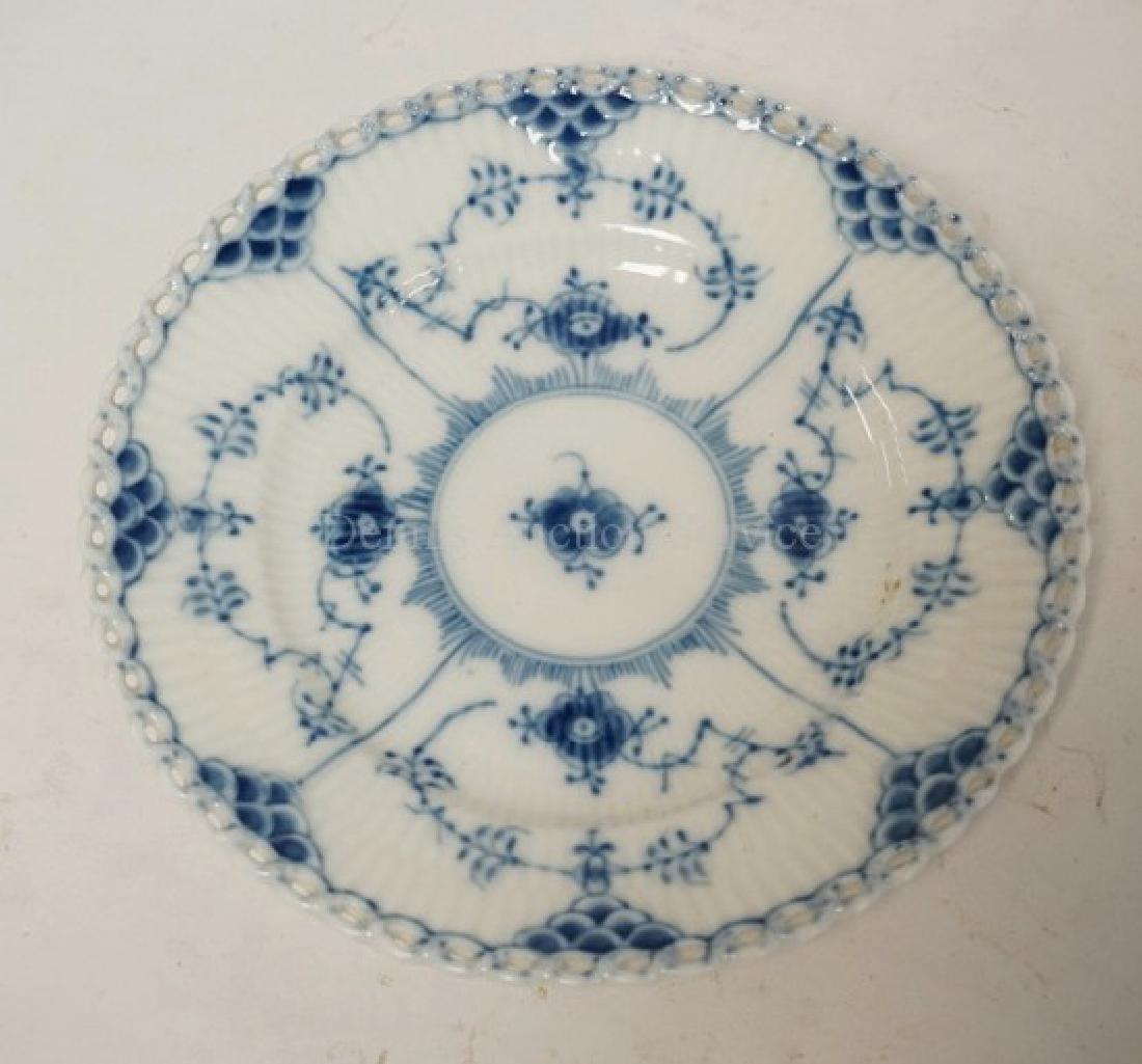 ROYAL COPENHAGEN BLUE FLUTED FULL LACE BREAD & BUTTER