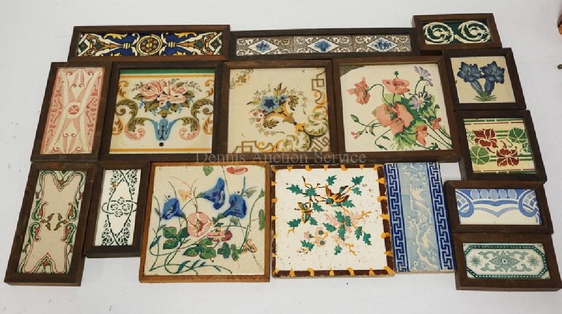 LOT OF 16 ANTIQUE TILES. LARGEST IS 8 INCHES SQUARE.