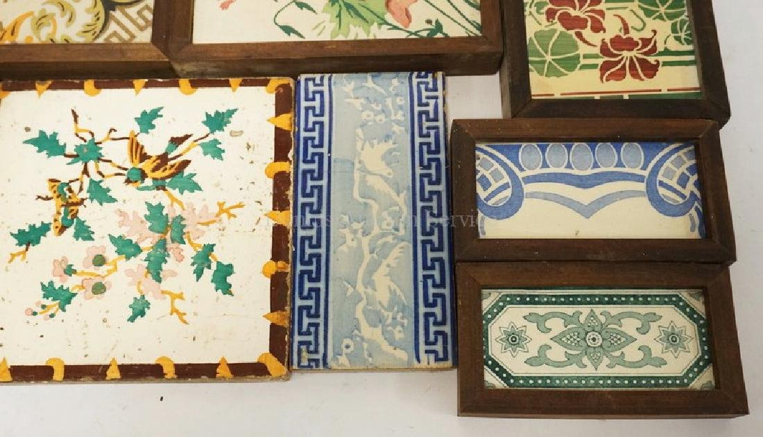 LOT OF 16 ANTIQUE TILES. LARGEST IS 8 INCHES SQUARE. - 5