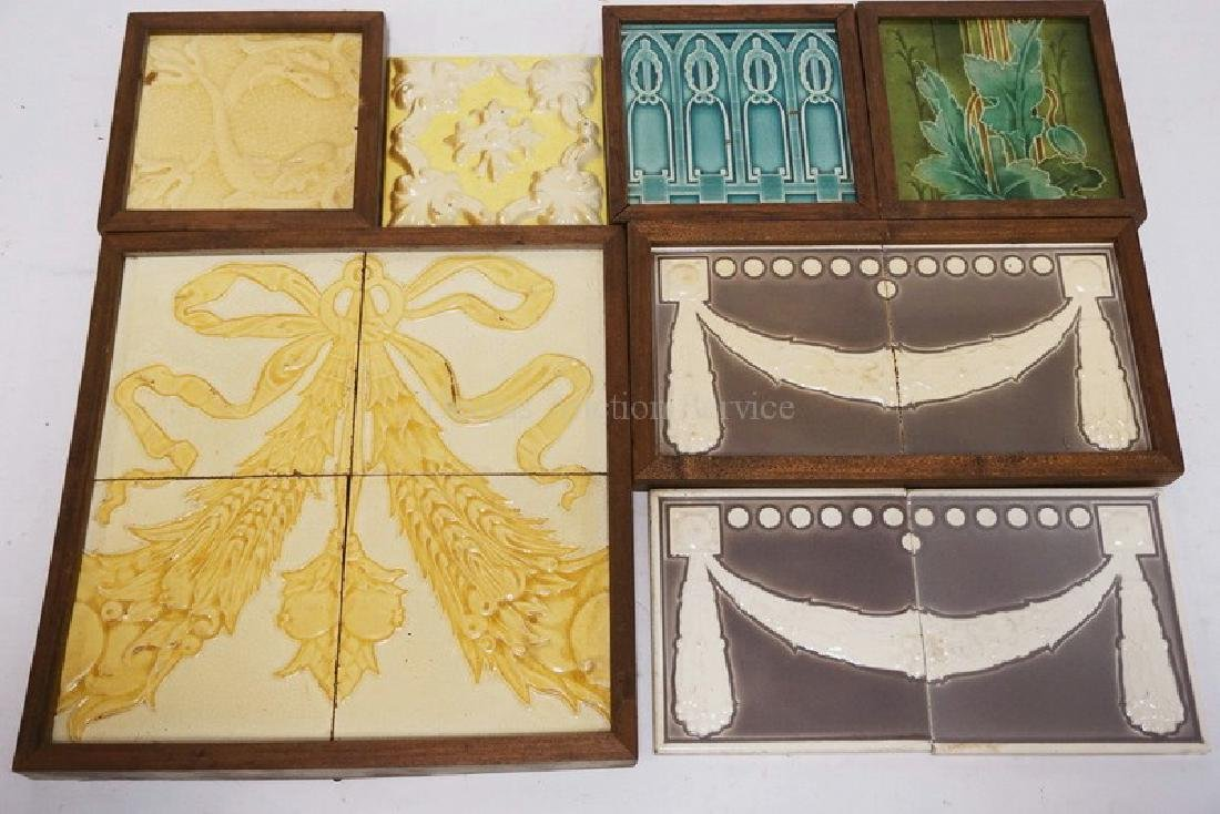 LOT OF 12 ANTIQUE TILES. LARGEST IS 6 INCHES SQUARE.