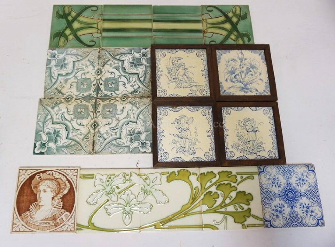 LOT OF 17 ANTIQUE TILES. SOME MATCHING. INCLUDES BOCH