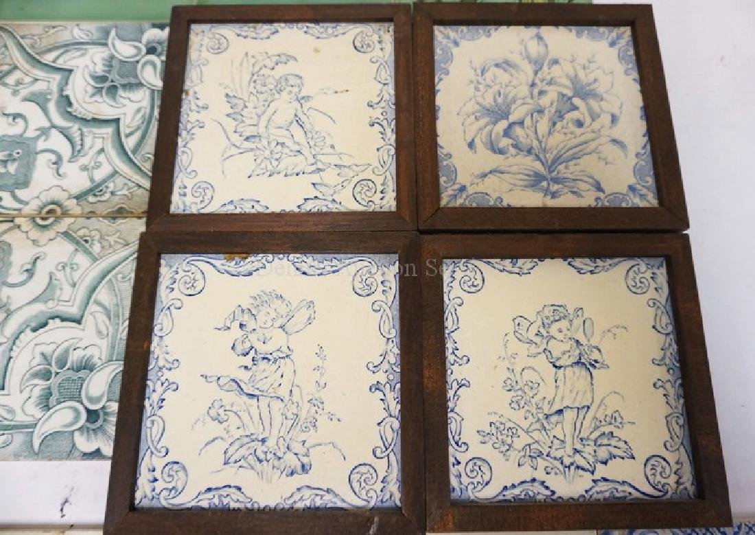 LOT OF 17 ANTIQUE TILES. SOME MATCHING. INCLUDES BOCH - 3