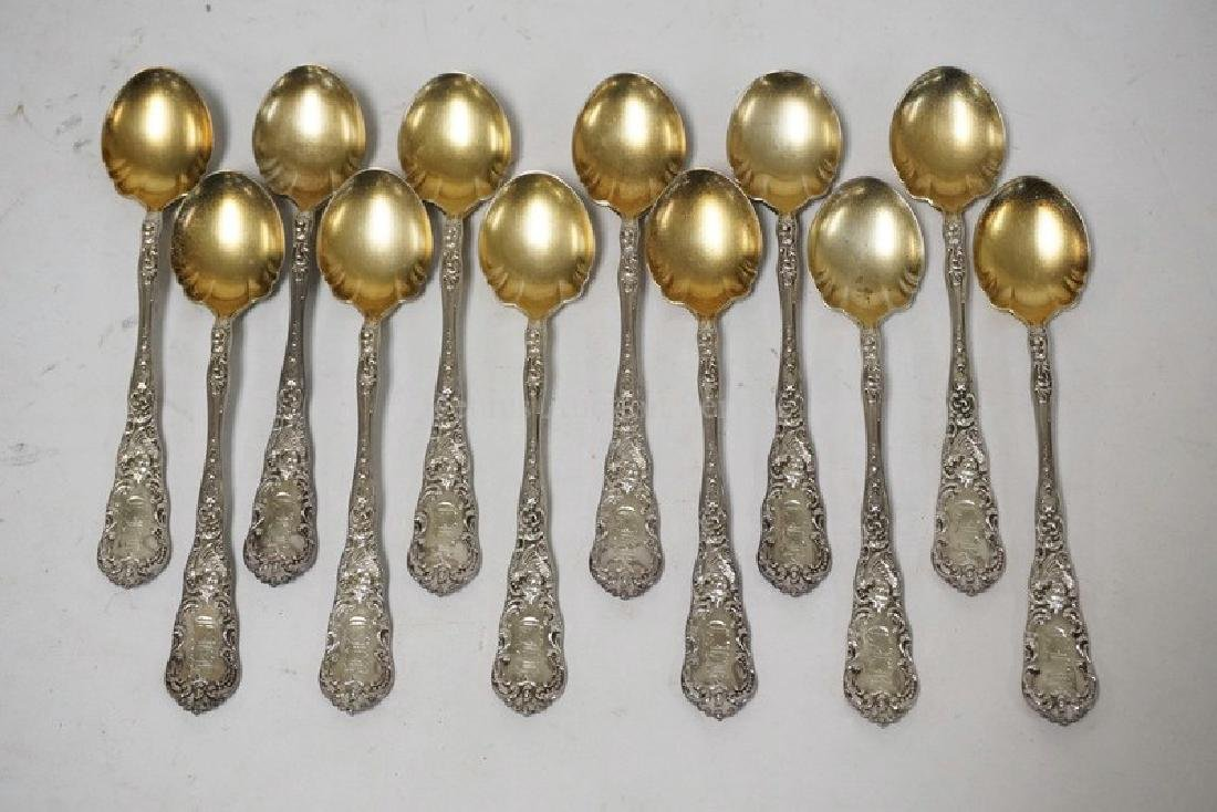 SET OF 12 DOMINICK & HAFF STERLING SILVER SPOONS WITH