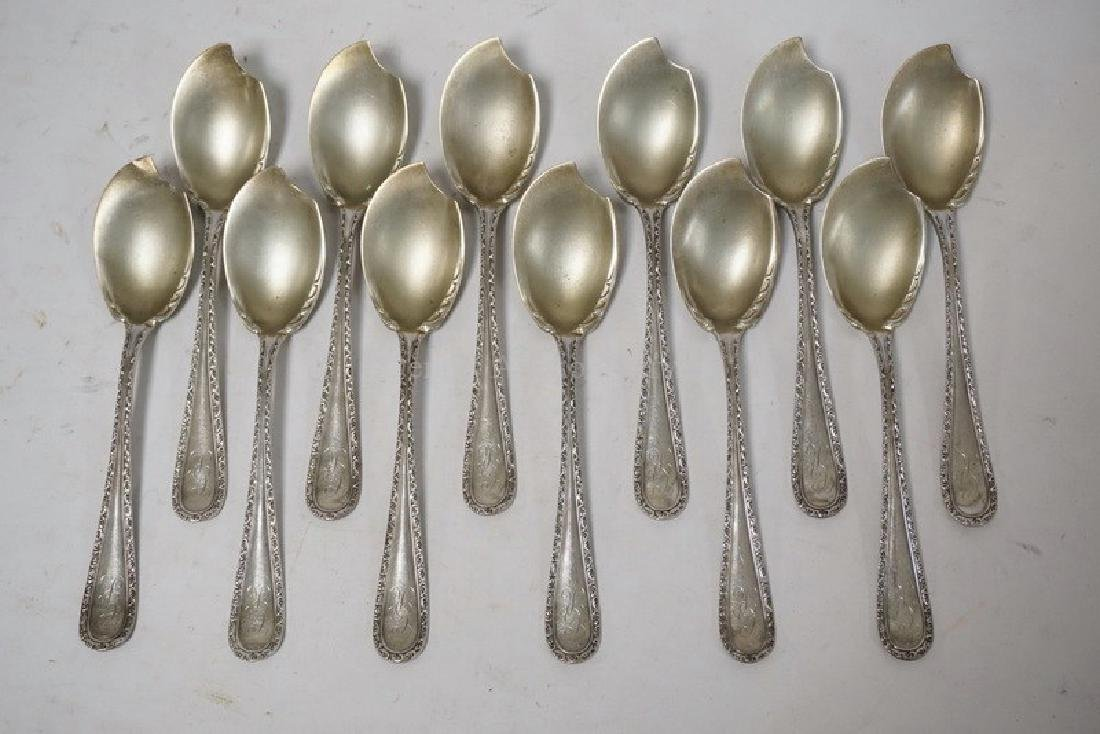 SET OF 12 STERLING SILVER FRUIT SPOONS MEASURING 6
