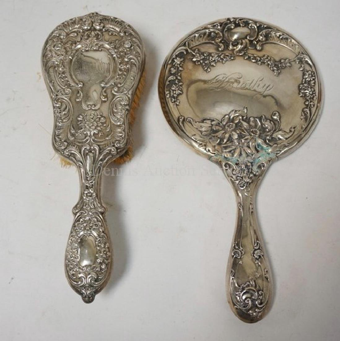 ANTIQUE STERLING SILVER MIRROR AND BRUSH (NOT