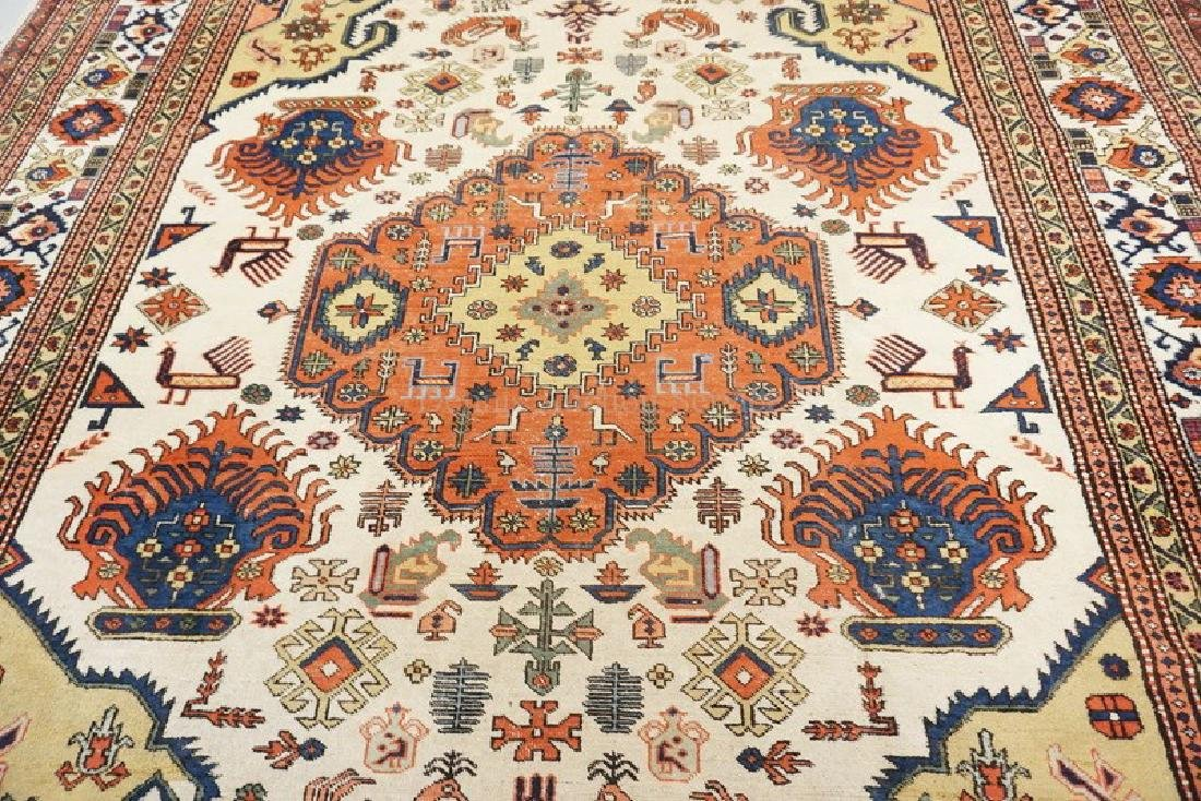 ANTIQUE HAND WOVEN ROOM SIZE ORIENTAL RUG MEASURING 11 - 3