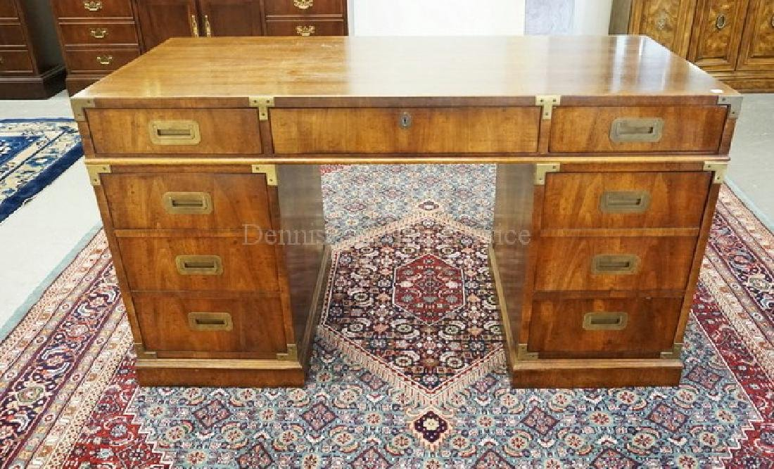 MAHOGANY KNEEHOLE DESK WITH BRASS MOUNTS. 54 INCHES