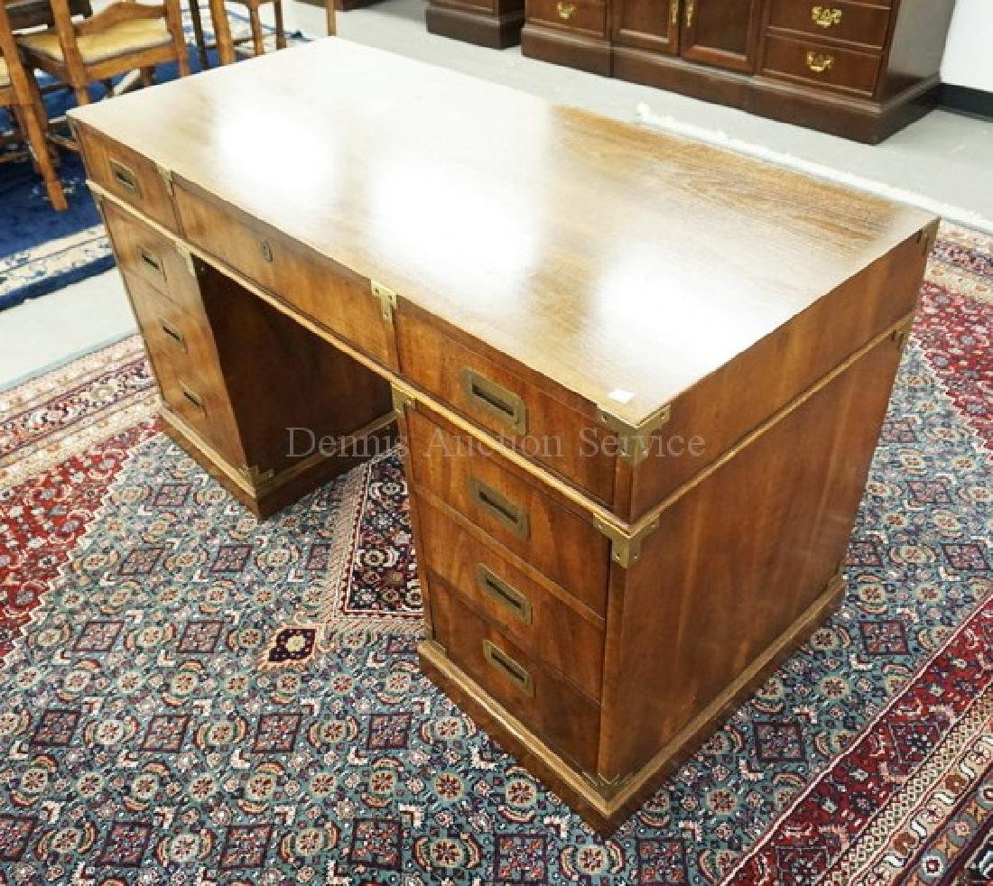MAHOGANY KNEEHOLE DESK WITH BRASS MOUNTS. 54 INCHES - 2