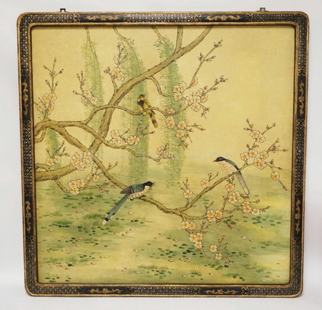 LARGE ASIAN PANEL WITH A SCENE OF BIRDS IN FLOWERING