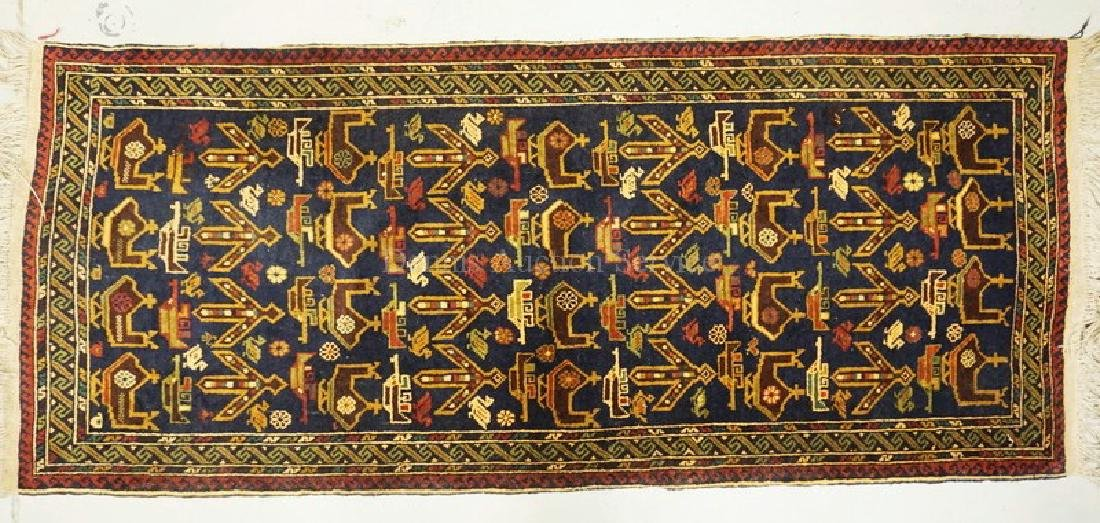 ORIENTAL RUNNER RUG WITH IMAGES OF HELICOPTERS AND