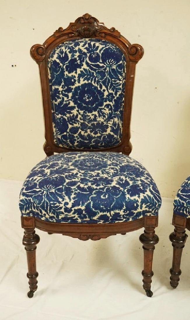 PAIR OF VICTORIAN CARVED WALNUT SIDE CHAIRS. 39 3/4 - 2
