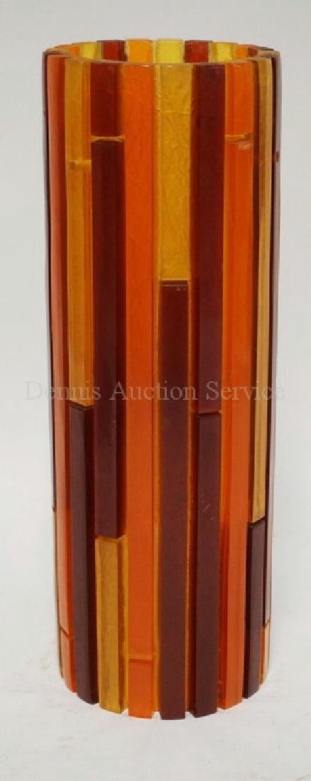 MCM LUCITE LIGHTING SHADE WITH VARIOUS BARS OF COLOR.