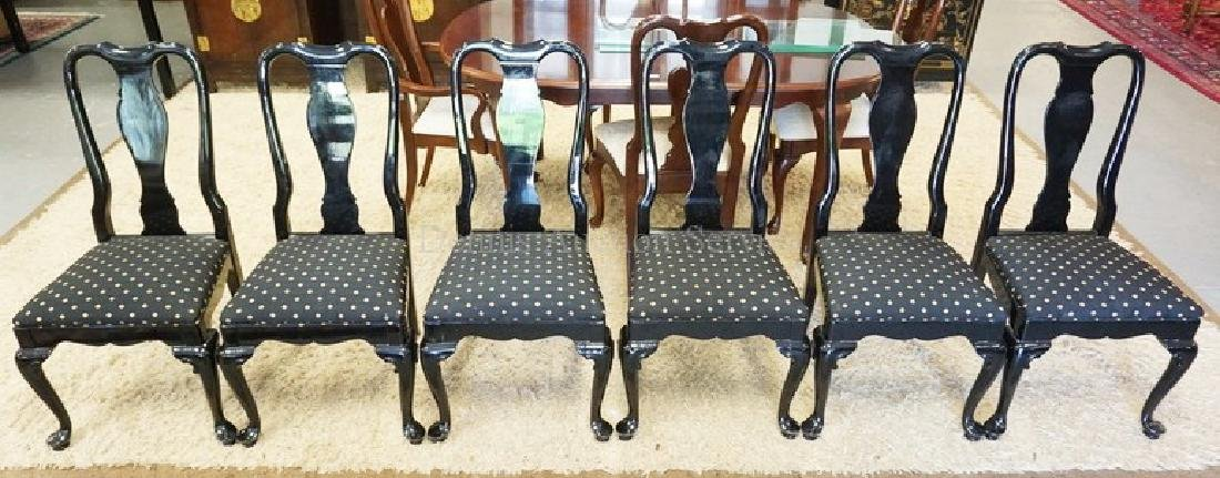 SET OF 6 BLACK LACQUERED DINING CHAIRS.