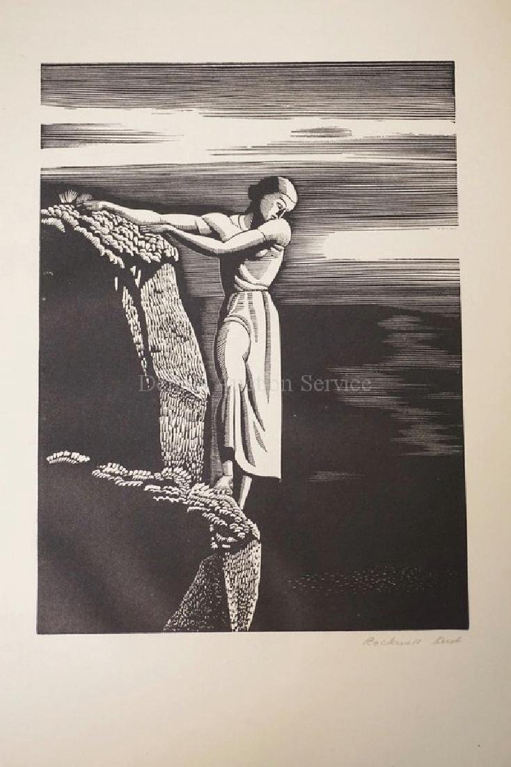 ROCKWELL KENT *GIRL ON CLIFF*. PENCIL SIGNED AND