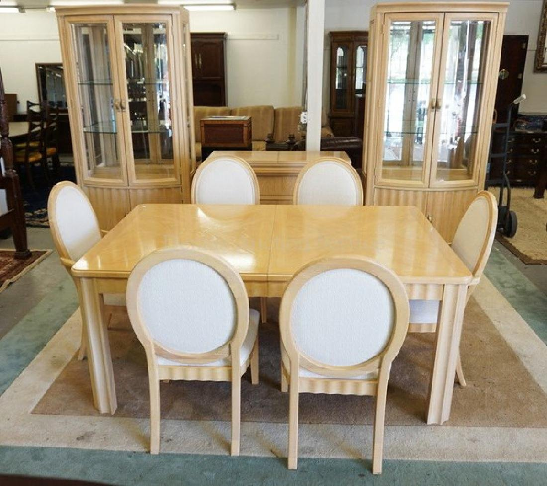 10 PIECE THOMASVILLE BLONDE DINING ROOM SET. INCLUDES