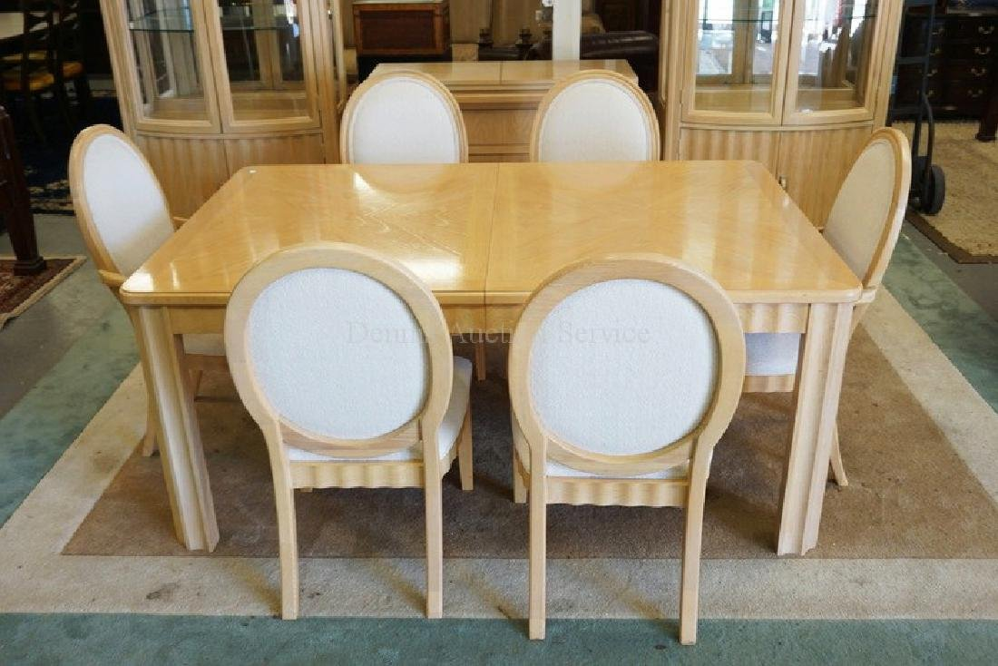 10 PIECE THOMASVILLE BLONDE DINING ROOM SET. INCLUDES - 2