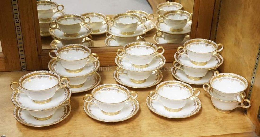 10 CAULDON ENGLAND BULLION CUPS AND SAUCERS PLUS 2
