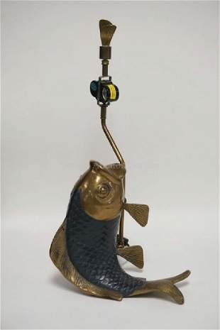 CHAPMAN BRASS FISH LAMP, DATED 1981. 21 1/4 INCHES
