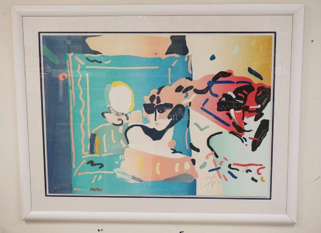 PETER MAX *LADY WITH DEGAS* LIMITED EDITION #66/75.