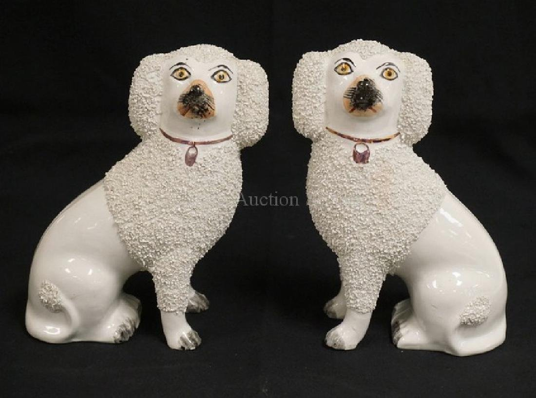 PAIR OF STAFFORDSHIRE DOGS MEASURING 8 1/2 INCHES HIGH.