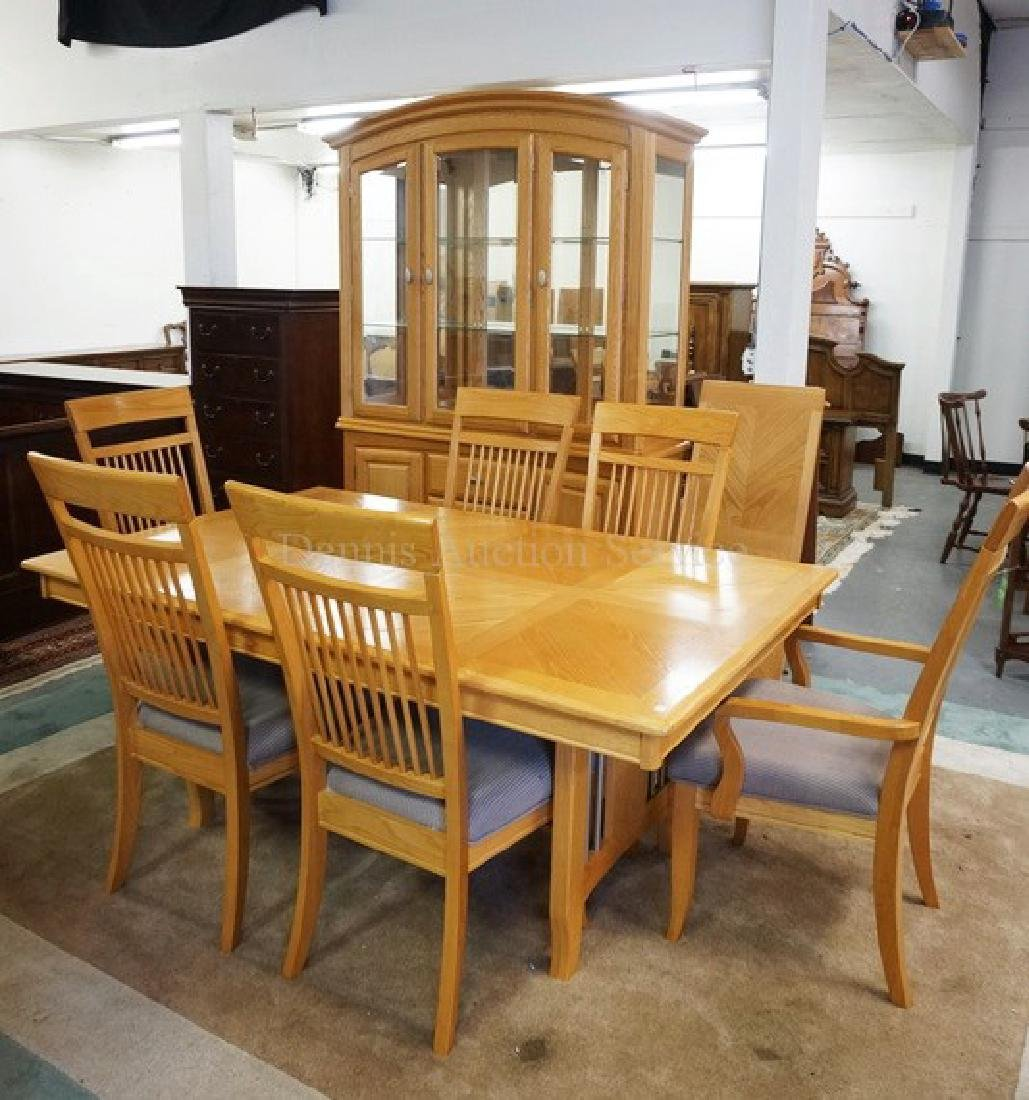 8 PIECE OAK DINING ROOM SET. CHINA CABINET, TABLE WITH