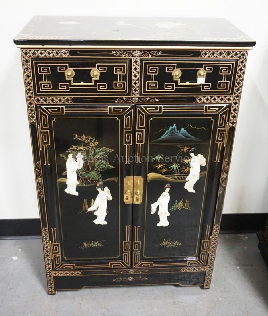 CHINOISERIE DECORATED CABINET WITH 2 DRAWER OVER 2