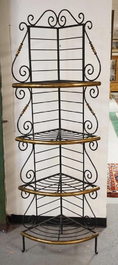 IRON AND BRASS CORNER BAKERS RACK. 79 1/4 INCHES HIGH.