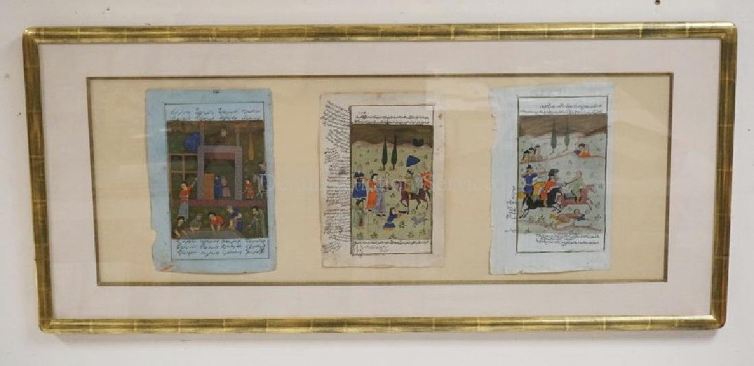 3 HAND PAINTED ILLUMINATED MANUSCRIPTS. FRAMED AND