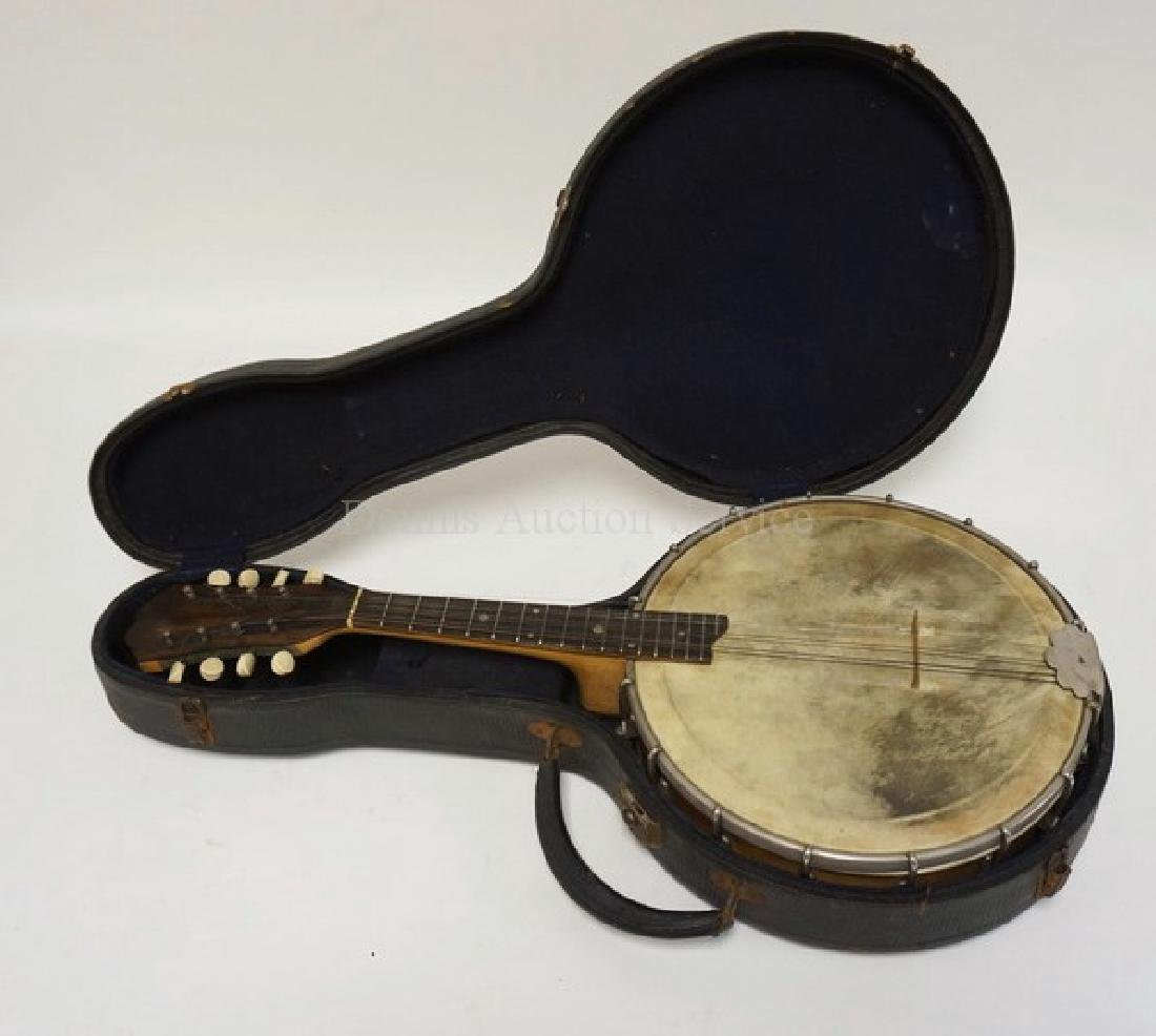 ANTIQUE 8 STRING BANJOLIN W/CASE. 23 1/2 INCHES LONG.