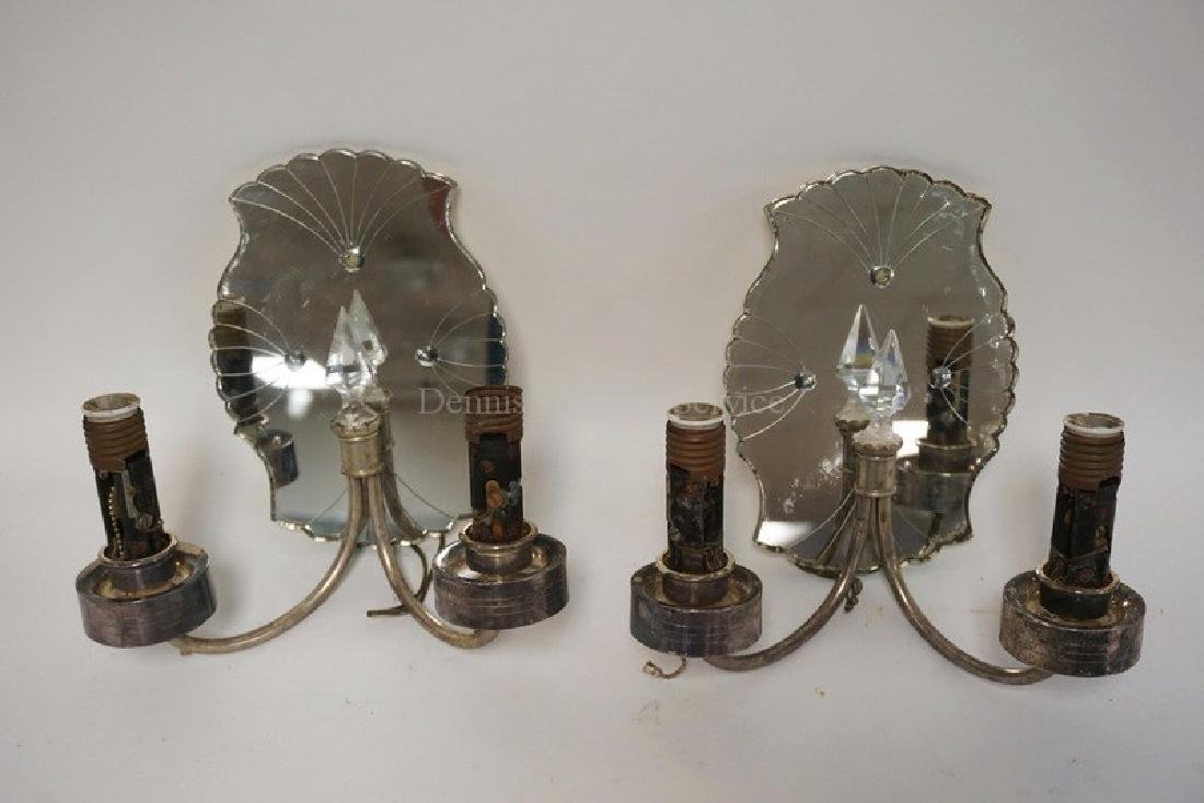PAIR OF SCONCES WITH SILVER PLATED MOUNTS, CUR CRYSTAL