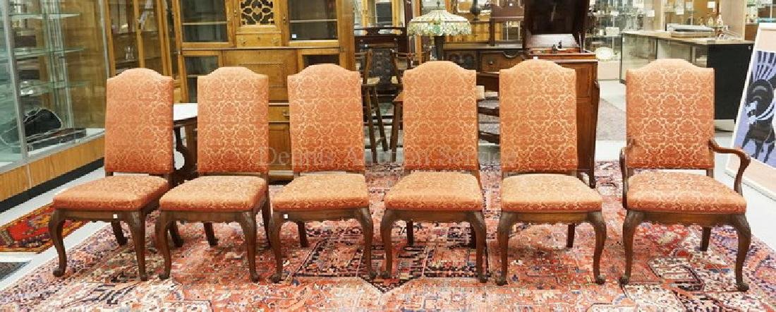 SET OF 6 CARVED WALNUT DINING CHAIRS. 42 INCHES HIGH.