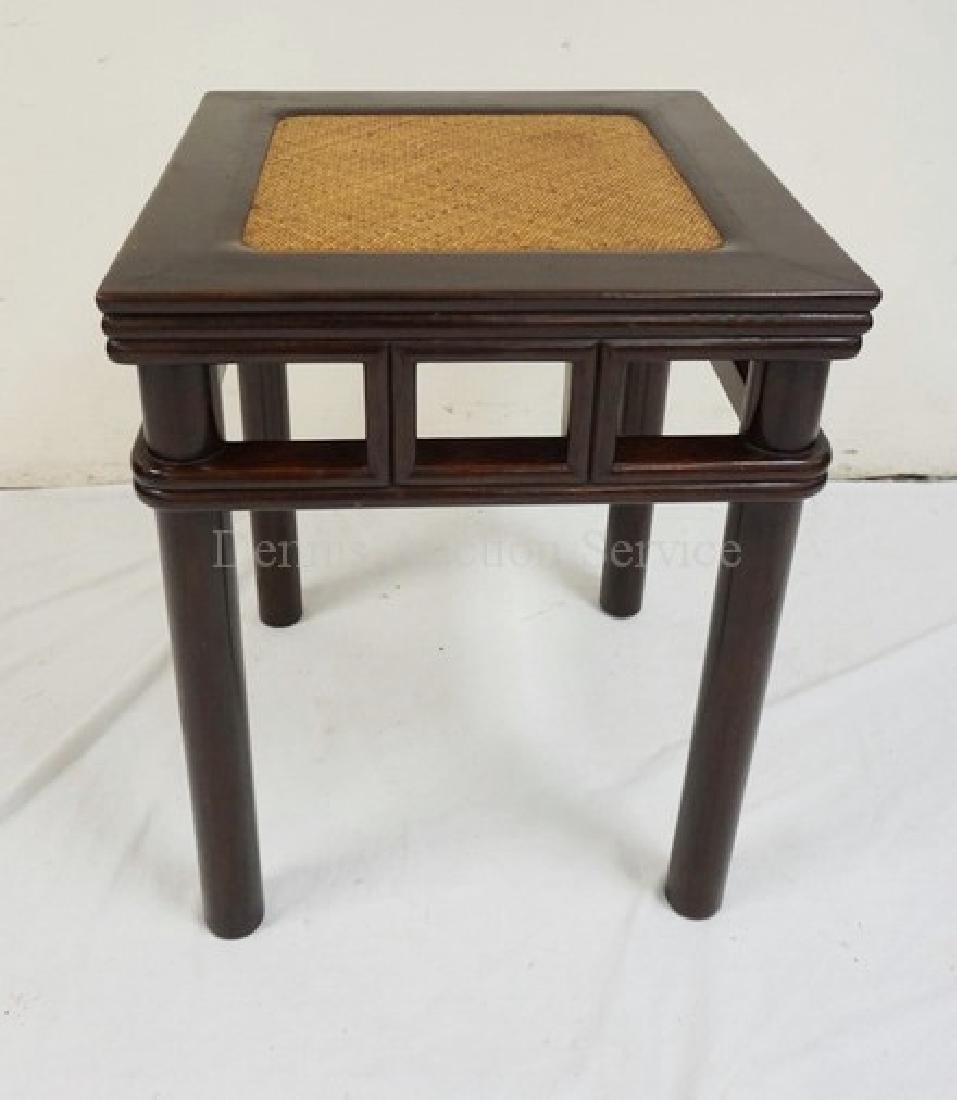 CARVED SOLID MAHOGANY ASIAN TABLE WITH AN INSET WOVEN