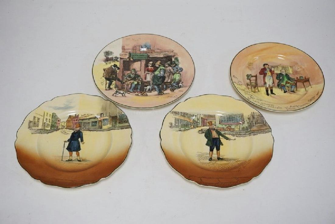 4 ROYAL DOULTON PLATES INCLUDING DICKENSWARE. LARGEST
