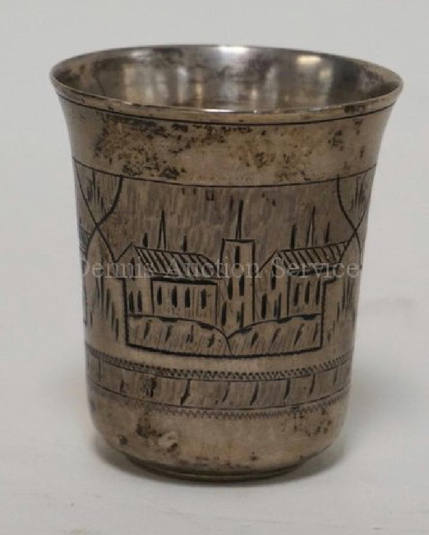 RUSSIAN SILVER HAND CHASED CUP MEASURING 2 3/8 INCHES