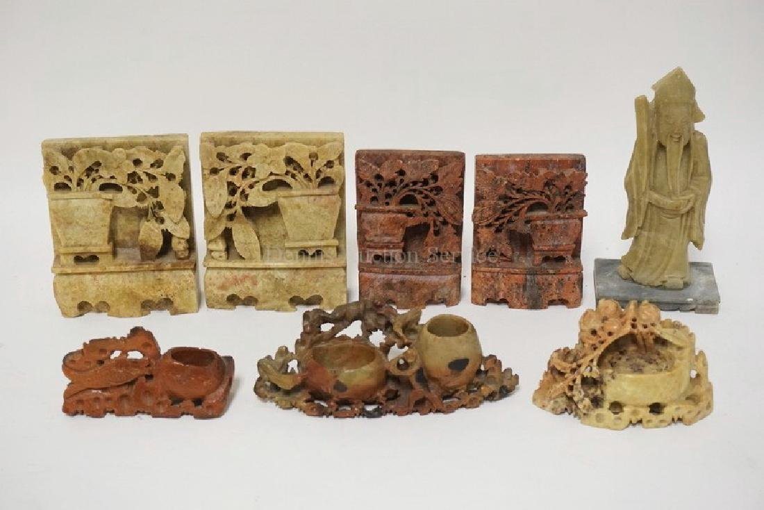 8 PIECE LOT OF ASIAN CARVED SOAPSTONE. 2 PAIRS OF