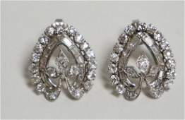 PAIR OF PLATINUM & DIAMOND EARRINGS. 72 DIAMONDS TOTAL.