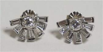 PAIR OF PLATINUM & DIAMOND EARRINGS. 16 DIAMOND TOTAL.