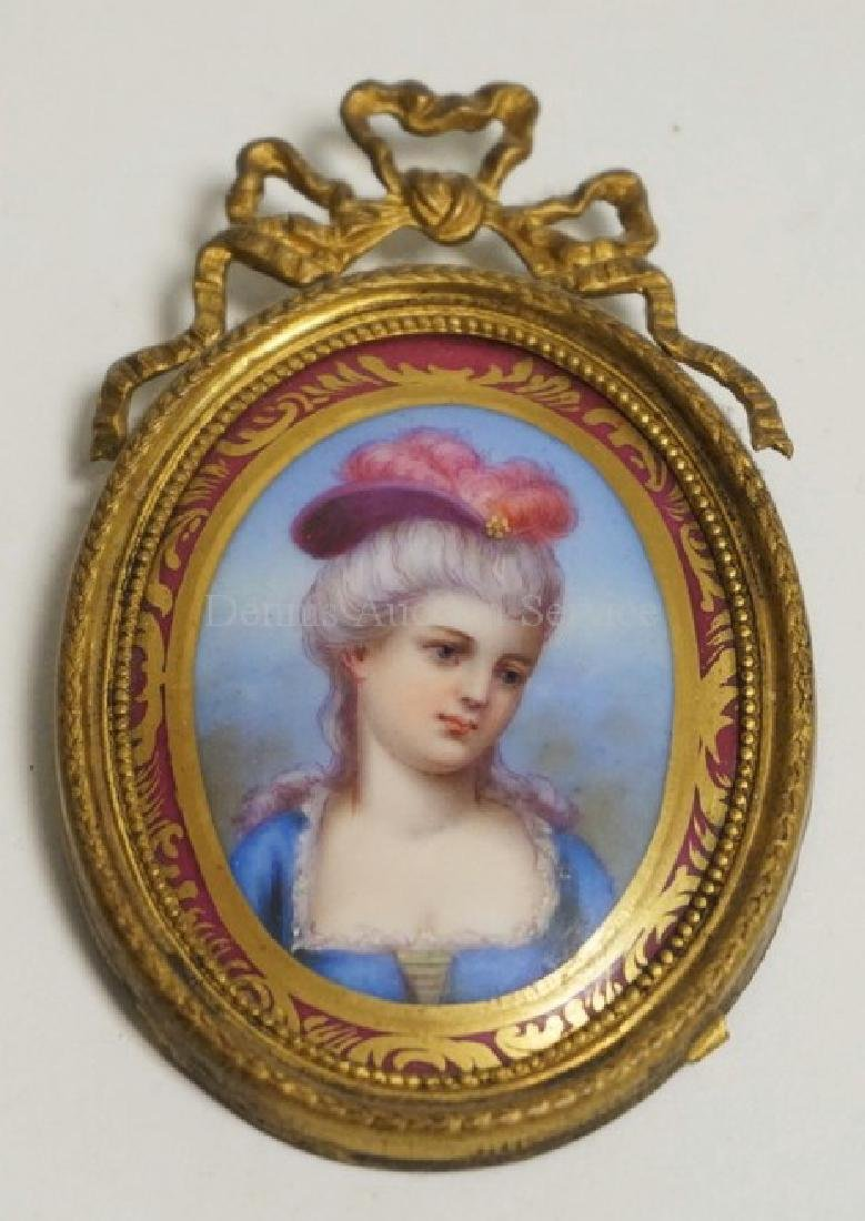 FRENCH PORTRAIT ON PORCELAIN . 3 3/8 X 2 1/8 INCHES.