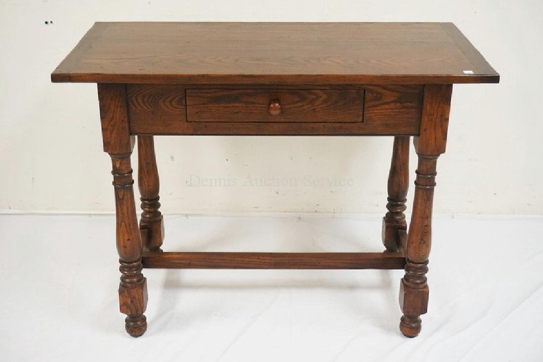 KINDEL OAK SINGLE DRAWER STAND HAVING BREADBOARD ENDS,
