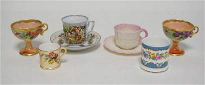 6 PIECE LOT OF QUALITY PORCELAIN CUPS. 2 HAND PAINTED