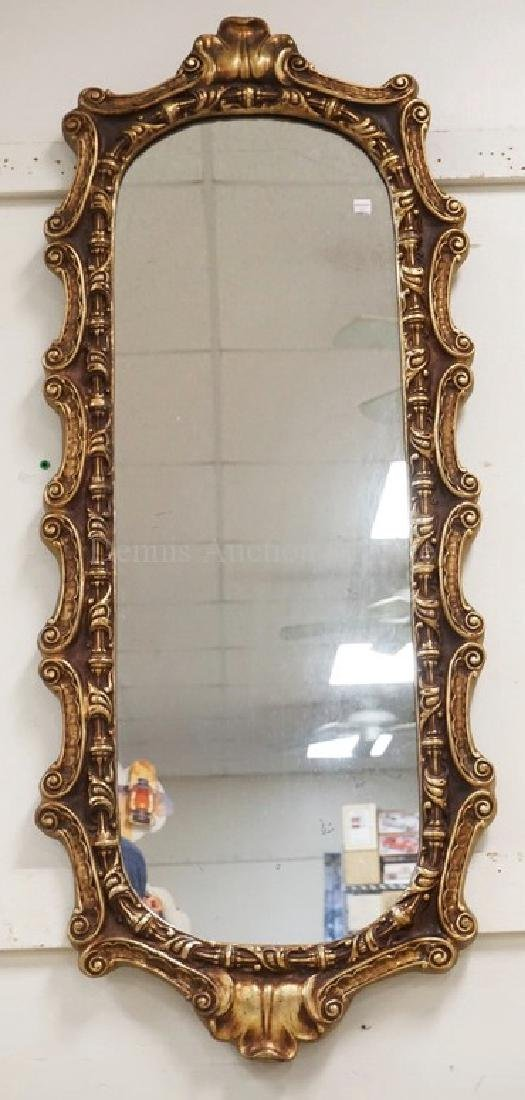 GOLD GILT WALL MIRROR MEASURING 49 X 20 1/4 INCHES.