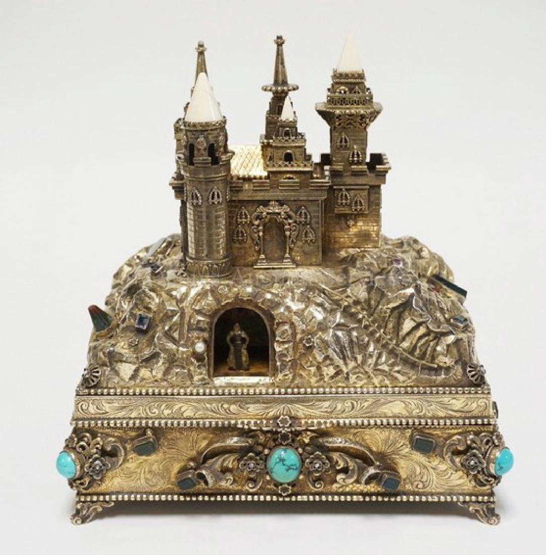 OUTSTANDING SILVER AND JEWELED AUTOMATON JEWELRY BOX BY