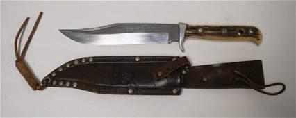 PUMA HAND MADE *BOWIE* KNIFE WITH LEATHER SHEATH. 10