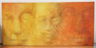 LARGE OIL PAINTING ON CANVAS TITLED *COMPRENSION