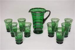11 PIECES EMERALD GREEN GLASS PITCHER AND TUMBLER SET