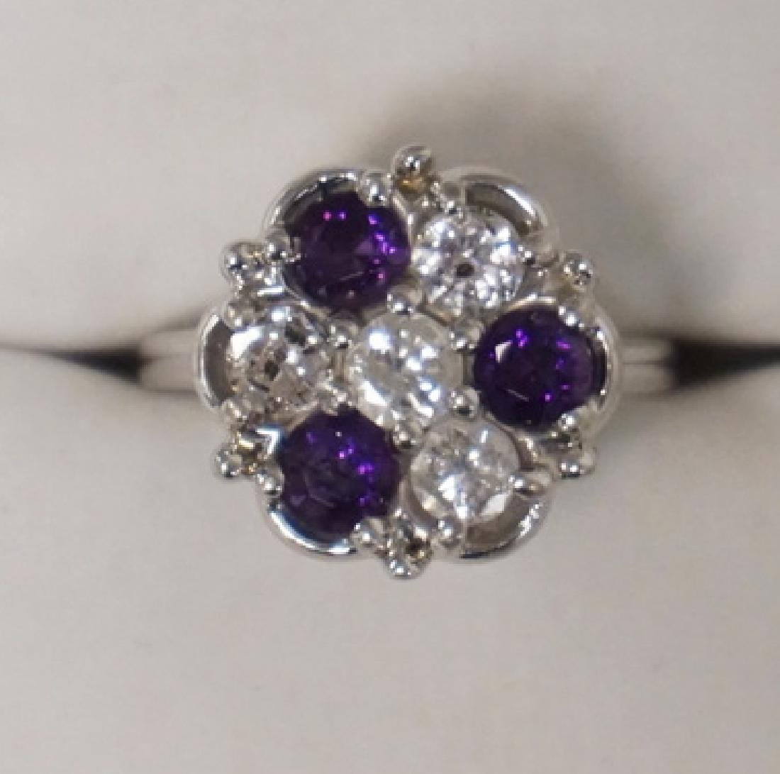 14K WHITE GOLD DIAMOND (1 CTTW) AND AMETHYST RING. 3.90