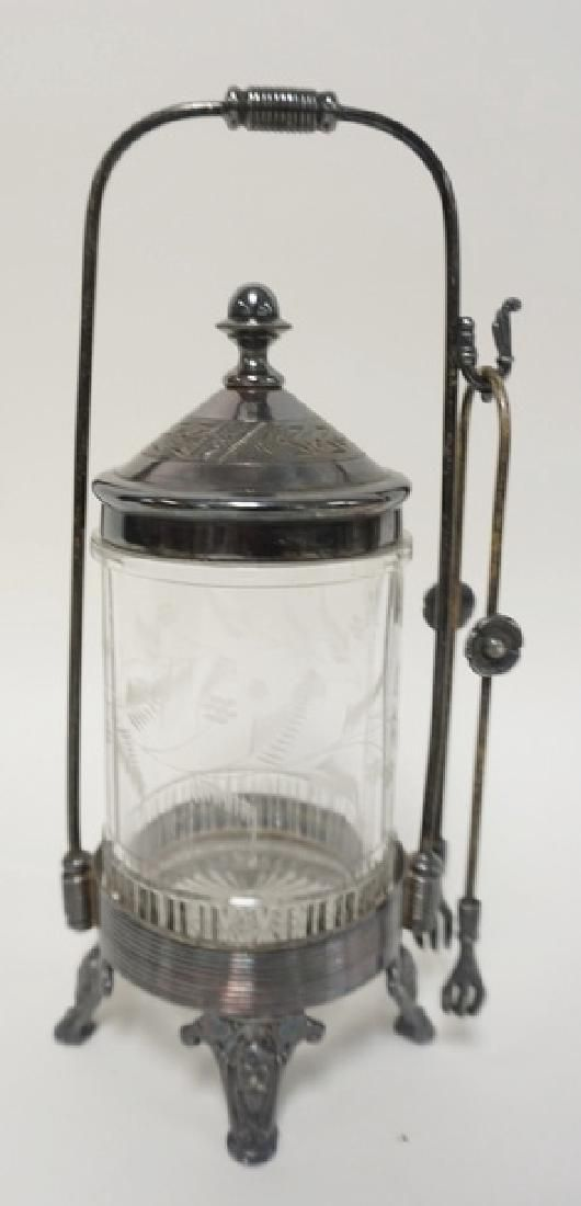 VICTORIAN PICKLE CASTOR WITH A SILVER PLATED FRAME AND