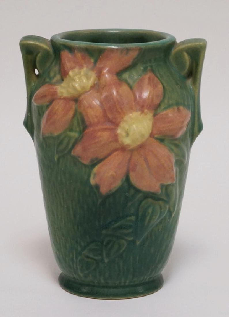 ROSEVILLE POTTERY CLEMATIS VASE. #105-7. 7 1/4 INCHES