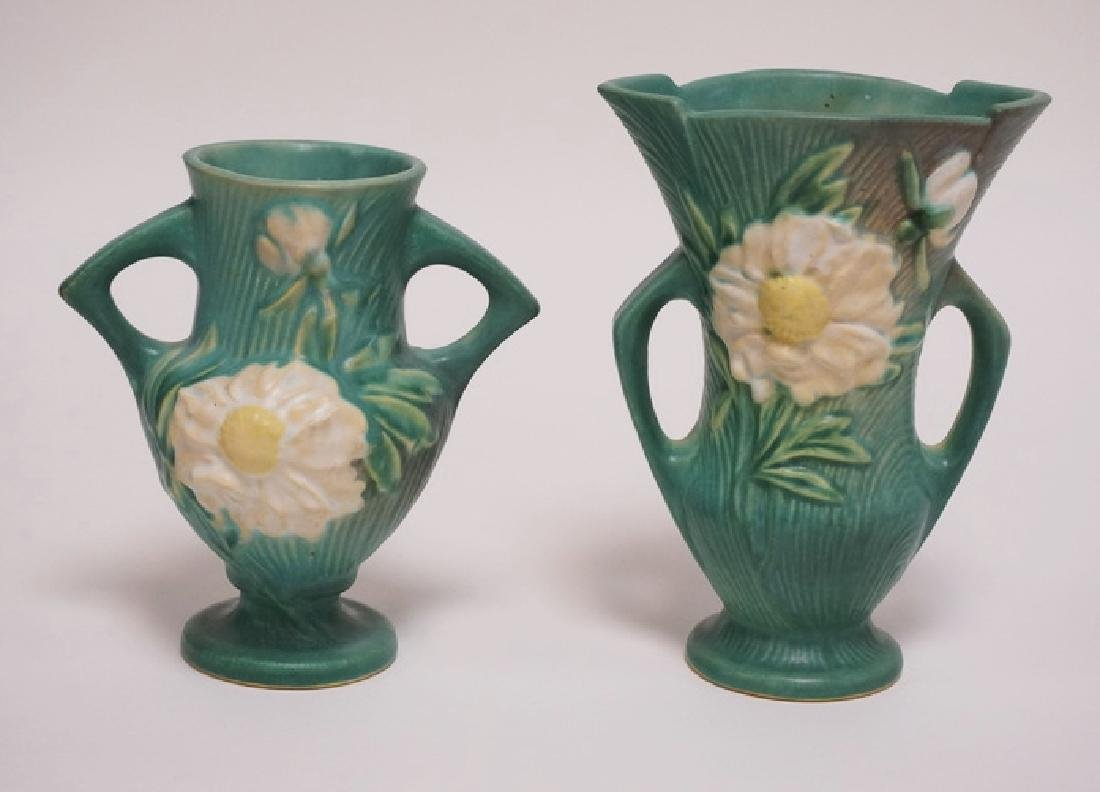 2 PIECES OF ROSEVILLE POTTERY PEONY PATTERN VASES.