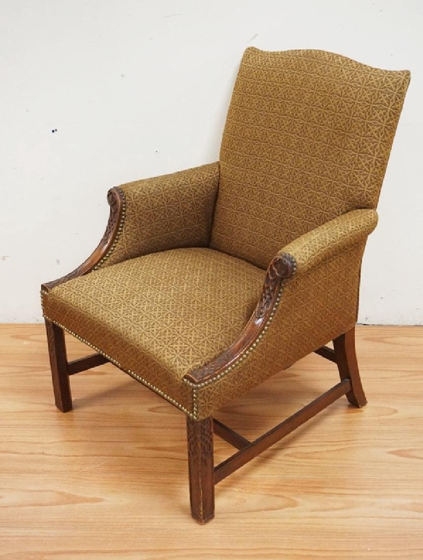UPHOLSTERED ARMCHAIR WITH A CHIPPENDALE STYLE CARVED - 2